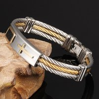 best three wood - Fashion Jewelry Three Tone Mixed Cable Wire Silver Stainless Steel Bracelet Cross Chain Best Xmas Gift