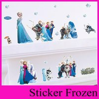 anne blue - Cartoon Anne Elsa Frozen Wall Stickers for Kids Rooms DIY Home Decoration D wall stickers home decor christmas decoration ZYpaz001