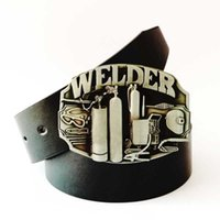 american welder - 2016 DISOM New Western belt buckle with black belts welder belt buckle American fashion zinc alloy matel belt buckles drop shipping