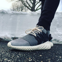 Wholesale 2016 New Arrivals Mens Fashion KITH X Consortium Tubular Doom TDP Running Shoes Outdoor Sports Sneakers for Men All Black US7