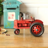 antique iron model car - Metal antique tractor cars red exquisite vintage retro model iron sheet finishing handmade model