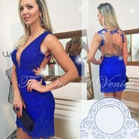 Wholesale Royal Blue Lace Bodycon Cocktail Dresses Sexy Deep V Neck Short Mini Homecoming Dresses Robe de Cocktail Sheath Backless Party Gowns