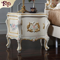 Wholesale Antique reproduction furniture Luxury classic solid wood bed stand Italian classic nightstands