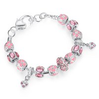 Wholesale 2016 NEW Winter Collection Silver Charm Bracelet for Women With Pink Crystal Murano Glass Beads PA1400