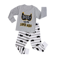 Wholesale High quality lycra cotton Long Sleeve Kids Boys Girls Pajamas sleepwear sweet letter print children s clothing sets sets