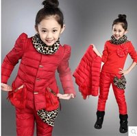 Wholesale Promotion winter girl clothing set collars roses decorate a three piece suit girl clothing set children clothing