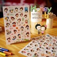 Wholesale 6 Sheets Cute Bee Girl Stickers For Mobile Phone Home Decor Notebook Cup Laptop Fridge Calendar Album Sticker Decoration