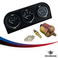Wholesale PQY RACING mm Triple gauge in Oil press Gauge Water Temp Gauge Volt Meter Sensor mm Auto Gauge Car Meter PQY TAG02