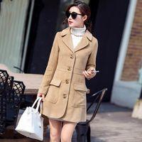 Wholesale Womens Winter Khaki Trench Coat Slim Fit Single Breasted Long Wool Coats Jackets Lapel Long Sleeve Warm Peacoats Overcoat FHF0821