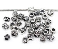 Wholesale 100Pcs Mixed Silver Tone Beads Fit Charm Bracelets Beads Cheap Beads Cheap Beads
