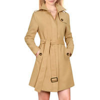 apparel belt - Women s Wool Blends Convertible Collar Long Sleeves Zip Up Belted Coat Beige Chuvivi Unique Fashion Apparel