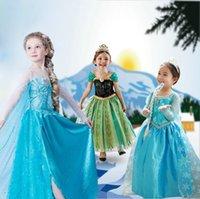 Cheap Hot!!! La Reine Des Neiges Anna Elsa Queen Girls Cosplay Costume Party Formal Dresses Ropa De Ninas Dresses Robe Fille Enfant