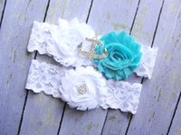 beach garters - Aqua Garter Set Anchor Garter Wedding Garter Belt Nautical Garter Blue Green Garter Garter Wedding White Lace Garter Beach Garter
