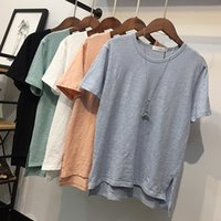 Wholesale South Korea s big yards summer wear pure color leisure coat bamboo cotton round collar loose white cotton short sleeve T shirt