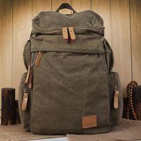 Wholesale Men Canvas Backpack Fashion Casual School Backpacks Laptop Bag Outdoor Hiking Travel Bag Large Capacity Rucksacks FB287