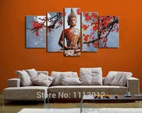Wholesale Hand Painted Abstract Fashion Plum Flower Buddha Oil Painting On Canvas Piece Modern Wall Art Home Decorative Picture Sets