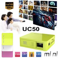 batteries portable media player - DHL Unic UC50 Mini Portable Projector DLP Pocket Projectors HDMI P ANSI LM Home Theater TV Beamer Media Player Cinema Built in Battery