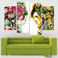 abstract modernism - 4pcs set Canvas Modernism Abstract Girls color Art Painting for Living Room Bedroom Decor Paintings For Living Room Wall No Frame