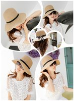 Wholesale New Fashion Sun Hat Women s Summer Foldable Straw Hats For Women Beach Headwear Colors Top Quality
