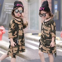 Wholesale Camouflage Sleeves T Shirts Children - tutu girls dress lot camouflage kids t-shirts dresses fashion baby clothes teenage kids long sleeve dresses children clothing party dress
