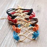 Wholesale Christmas Rope Bracelets - Infinity 8 Shape Bracelet 10 Colors Braided Hand-woven Leather Bracelet for Christmas Gift Personality Free Sipping