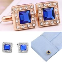 Wholesale Brand New Gold Silver Blue Square Crystal Cufflinks Rhinestone Men s Wedding Gift Cuff Links GE20075