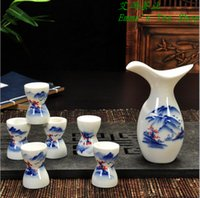Wholesale Health Janpanese Sake Cup Set Glazed Naive Handmade Ceramics Pottery Bottle Porcelain Sake Set Sake Pot Wine Cup Set Wine cup