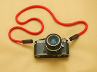 b line filter - B type parallel lines RED cotton mm handmade Camera neck strap