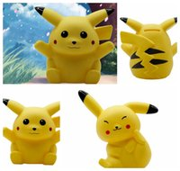 Wholesale Poke Pikachu Coin Bank Figure Cute Gift Pikachu Piggy Bank PVC Action Figure Coin Bank Money Saving Box money tank KKA761
