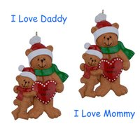 bear christmas ornament - I Love Daddy Mommy Bear Family Of Resin Hanging Personalized Christmas Tree Ornaments For Holiday New Year Father Mother Day Gifts