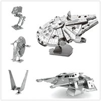 Wholesale 3D Assembling Metal Model Star Wars Metal Earth Millennium Falcon XWing Millennium Falcon NANO Puzzles DIY Gift Chinese ICONX
