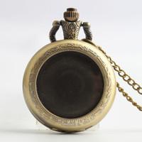 analog clock picture - 2016 Romance picture photo Pocket Watch clock Bronze locket necklaces Roman dial quartz Watches men jewelry valentine s day gift