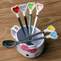 Wholesale DHL Shipping Free Colorful Long Handle Stainless Steel Spoons for Ice Cream Tea Coffee Dessert Spoon with Heart shaped Porcelain handle