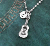 acoustic guitar charm - antique silver Guitar Necklace SMALL Spanish Guitar Necklace Acoustic Guitar charm Pendant necklace