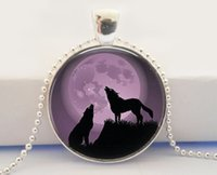 american wildlife - HOWLING WOLF MOON Pendant Purple and Black Full Moon Jewelry Wolf Pendant Nature Wildlife Jewelry Moon Necklace