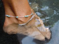 Wholesale 12PCS Bohemian Women Charms Anklet Handmade Turquoise Beaded Vintage Silver Chain Anklet Bracelet Summer Beach Foot Anklets Jewelry LS028