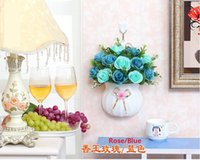 artificial flower basket arrangements - Artificial Rose Bouquet French Rose Artificial Silk color rose flower with flower basket Arrangement Room Hydrangea Wedding Home Decoration