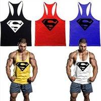Wholesale Fitness Men superman Cotton Tank Top Singlet Bodybuilding Sport Undershirt Clothes Gym Vest Muscle Singlet fast shipping NY38