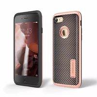 Híbrido de fibra de carbono kickstand 2 en 1 combo stand anti-shock piel de la cubierta del caso para el iPhone 7 y el iPhone 7 Plus caso resistente de goma