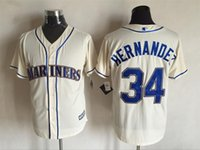 Wholesale New Baseball Jerseys Mariners Hernandez Jersey Cream Color Coolbase Size M XXXL Mix Order Cheap Polyester Jersey