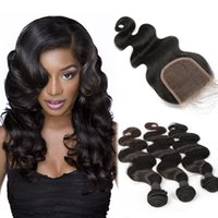Wholesale 7A Grade Brazilian Hair Bundles with Lace Closure Body Wave Natural Black Color Peruvian Malaysian Indian Human Hair Weaves