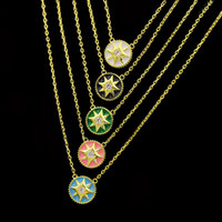 astrolabe necklace - Universe Totem Round Astrolabe Cz Stone Pendant Necklaces For Women K Yellow Gold Plated Middle East Hot Selling Fashion Design Jewelry