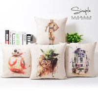 beige couch cover - Ink Painting Art Star Wars Yoda Cushions Covers Home Decorative Linen Cotton Pillow Cushion Cover Couch Sofa Throws Pillow Case Present