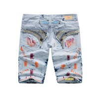 Wholesale NEW ROBIN Jeans Shorts Men Designer Robin Jeans Pants Men Cowboy Denim Short Pants with Eagle Wings Size
