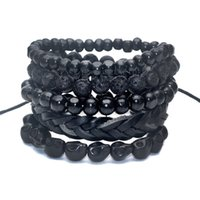 Cheap Wholesale-1 Set 5 pcs Black Out Bamboo wood, Lava Stone Beads , Stone Skull and Pull-Closure Leather Bracelet Men's Fashion Bracelet Pack