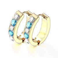 large hoop earrings - EH Gold PLated L Stainless Steel Circle Hoop Earrings Large Sapphire Stone Women Puncture Earring Jewelry