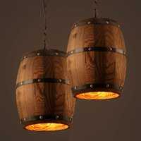 barrel pendant light - American country loft wood Wine barrel hanging Fixture ceiling pendant lamp E27 light for bar cafe living dining room restaurant
