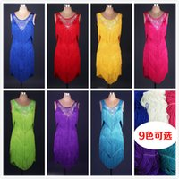 Wholesale New Adult Latin Dance Dress Salsa Tang Cha cha Ballroom Competition Tassels Rhinestones Group Dance Dress Color S XXL Customizable