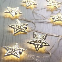 battery foot warmer - Battery Warm White LED Lamp Fairy Lights Metal Star String Decoration Light Christmas Halloween Christmas Party Wedding LY437
