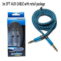 Wholesale 3FT mm Aluminium Audio AUX Car Extention Cable Braided Cable Wire Auxiliary Stereo Male to male m For I6 S Samsung S6 C SJ